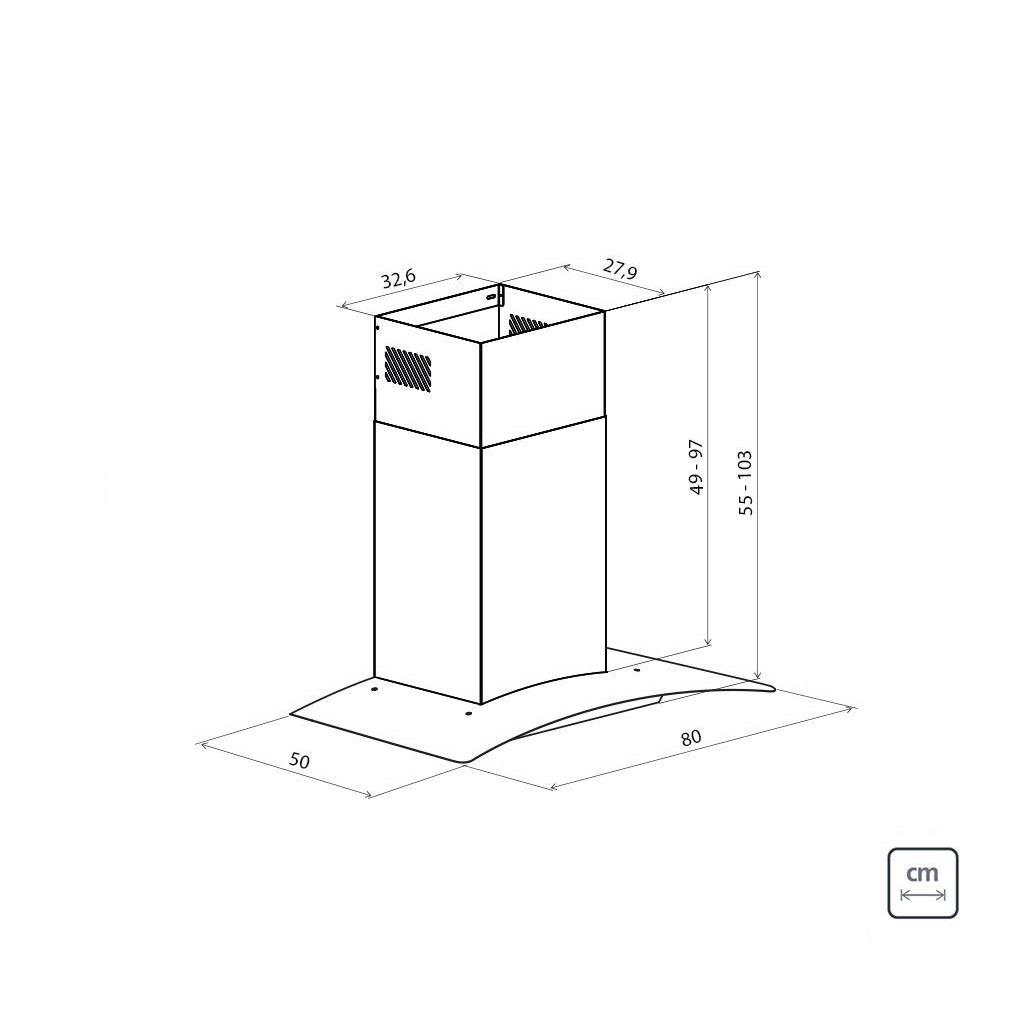 Coifa de Parede Tramontina New Vetro em Aço Inox e Vidro Temperado 80 cm 127 V  Tramontina 95800011