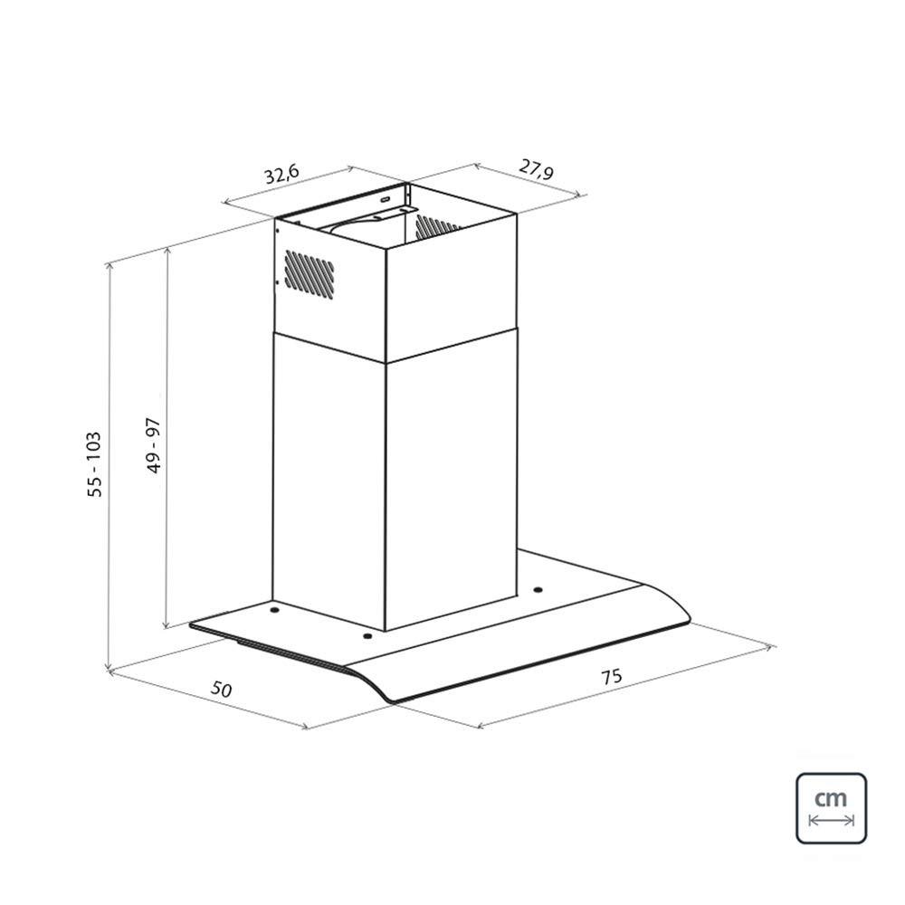 Coifa de Parede Tramontina New Vetro Flex em Aço Inox e Vidro Temperado 75 cm 220 V  Tramontina 95800010