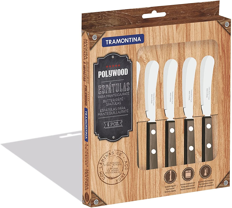Conjunto de Espátulas para Manteiga Tramontina Polywood com Lâminas em Aço Inox e Cabos de Madeira Castanho 6 Peças  Tramontina 21199980