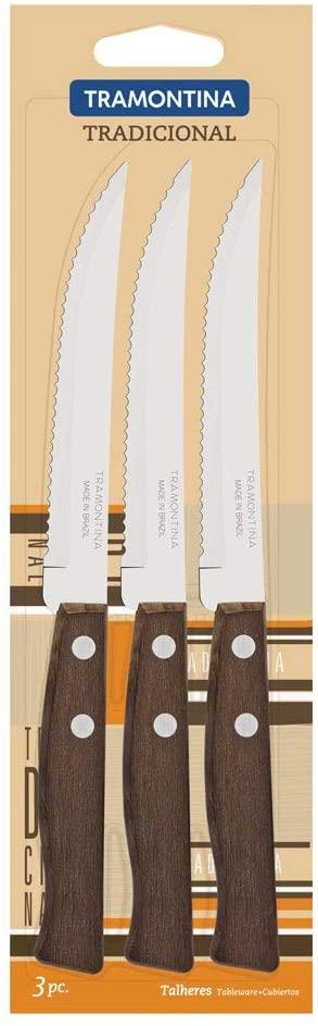 Conjunto de Facas para Churrasco e Frutas Tramontina Tradicional com Lâminas em Aço Inox e Cabos de Madeira Natural 3 Peças  Tramontina 22200305