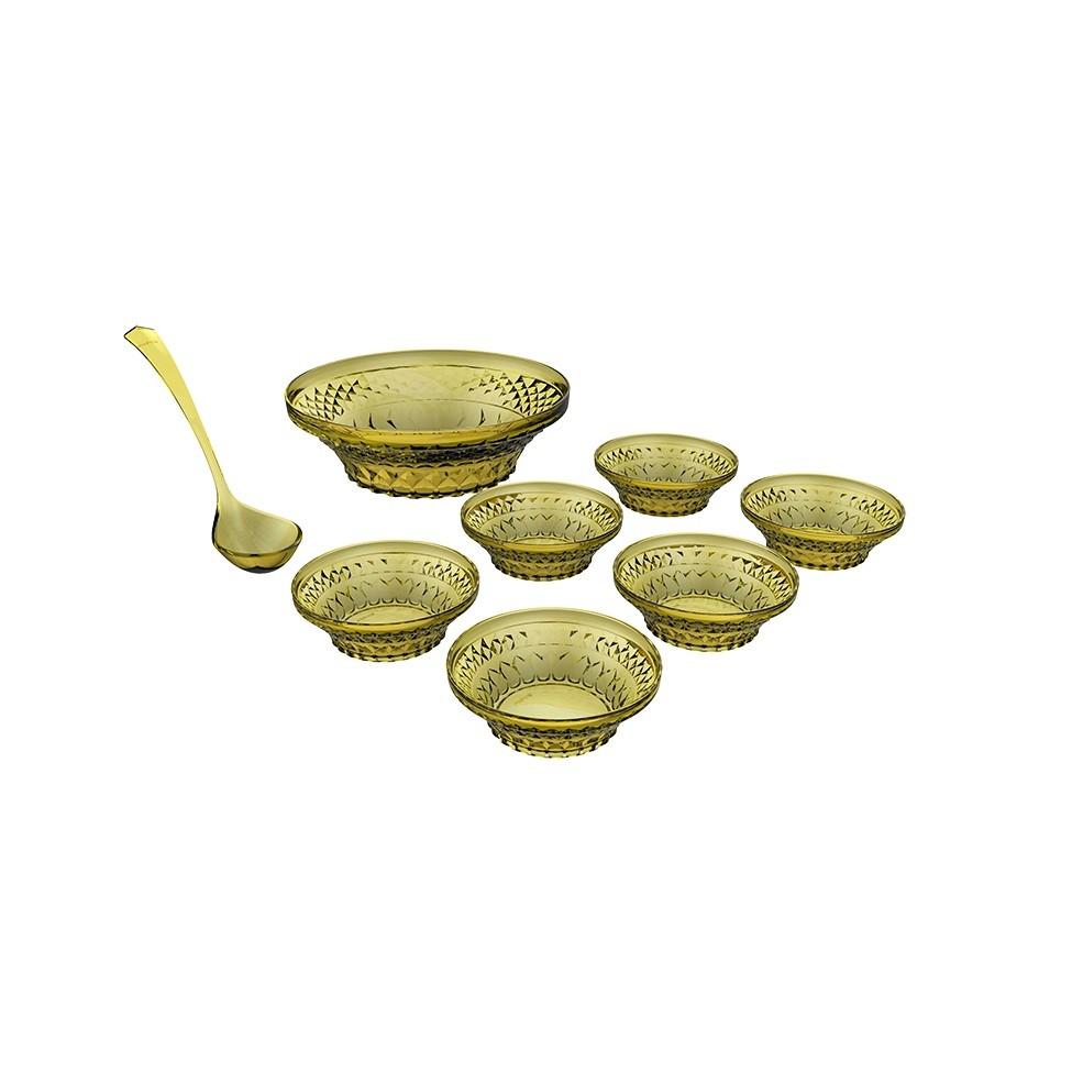 Conjunto Para Sobremesa 8 Peças Glassy Amarelo
