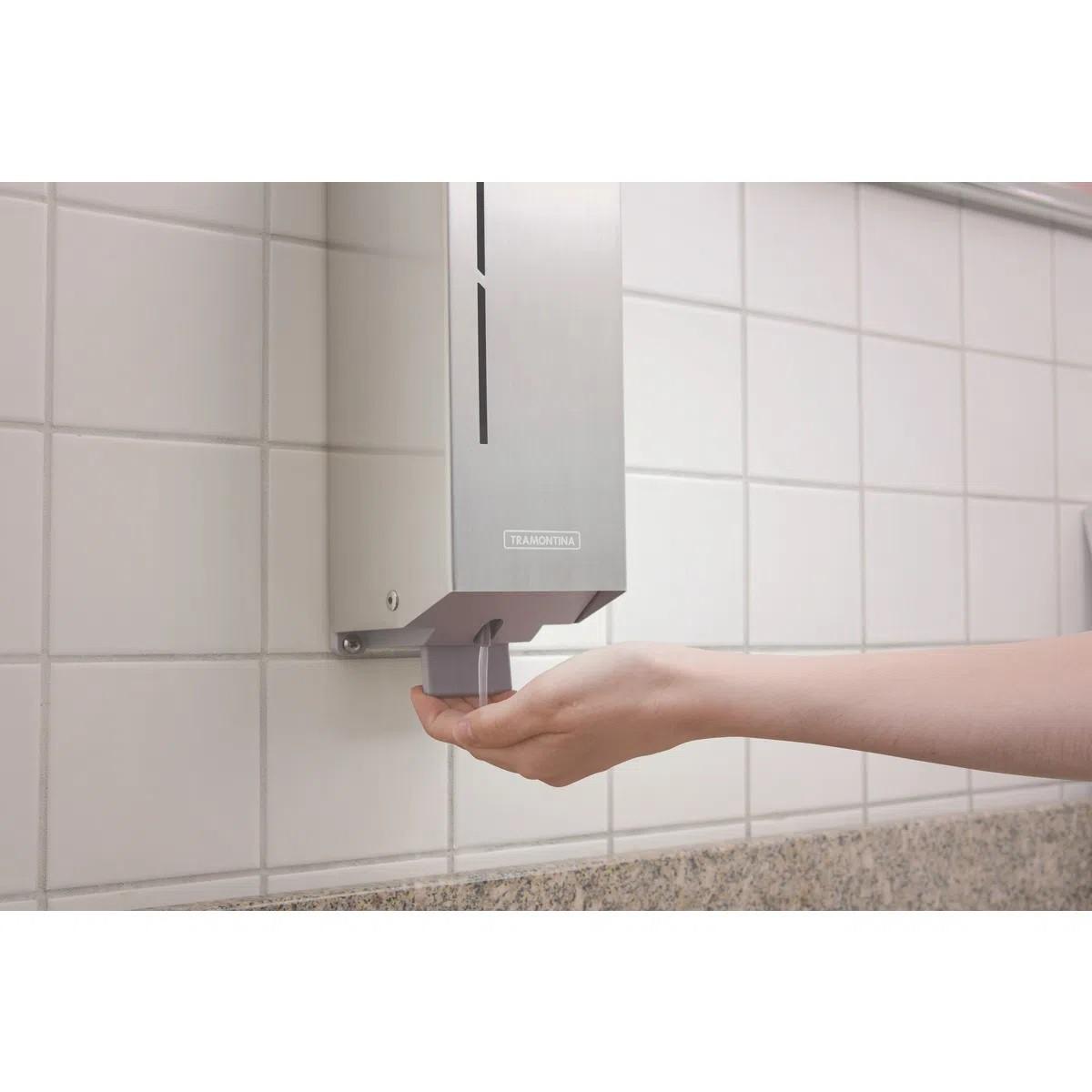 Dispenser para Sabonete Líquido Tramontina em Aço Inox com Acabamento Scotch Brite e Recipiente em ABS  Tramontina 94532032