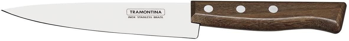 """Faca Peixeira e Cozinha Tramontina Tradicional com Lâmina em Aço Inox e Cabo em Madeira Natural 7""""  Tramontina 22219107"""