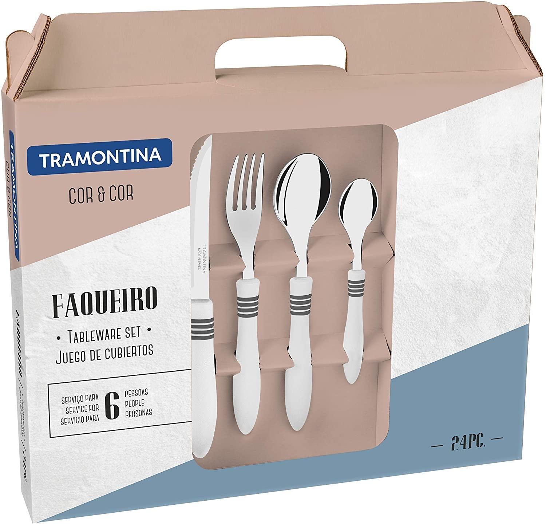 Faqueiro Tramontina Cor & Cor com Lâminas em Aço Inox e Cabos de Polipropileno Off-White 24 Peças  Tramontina 23499563