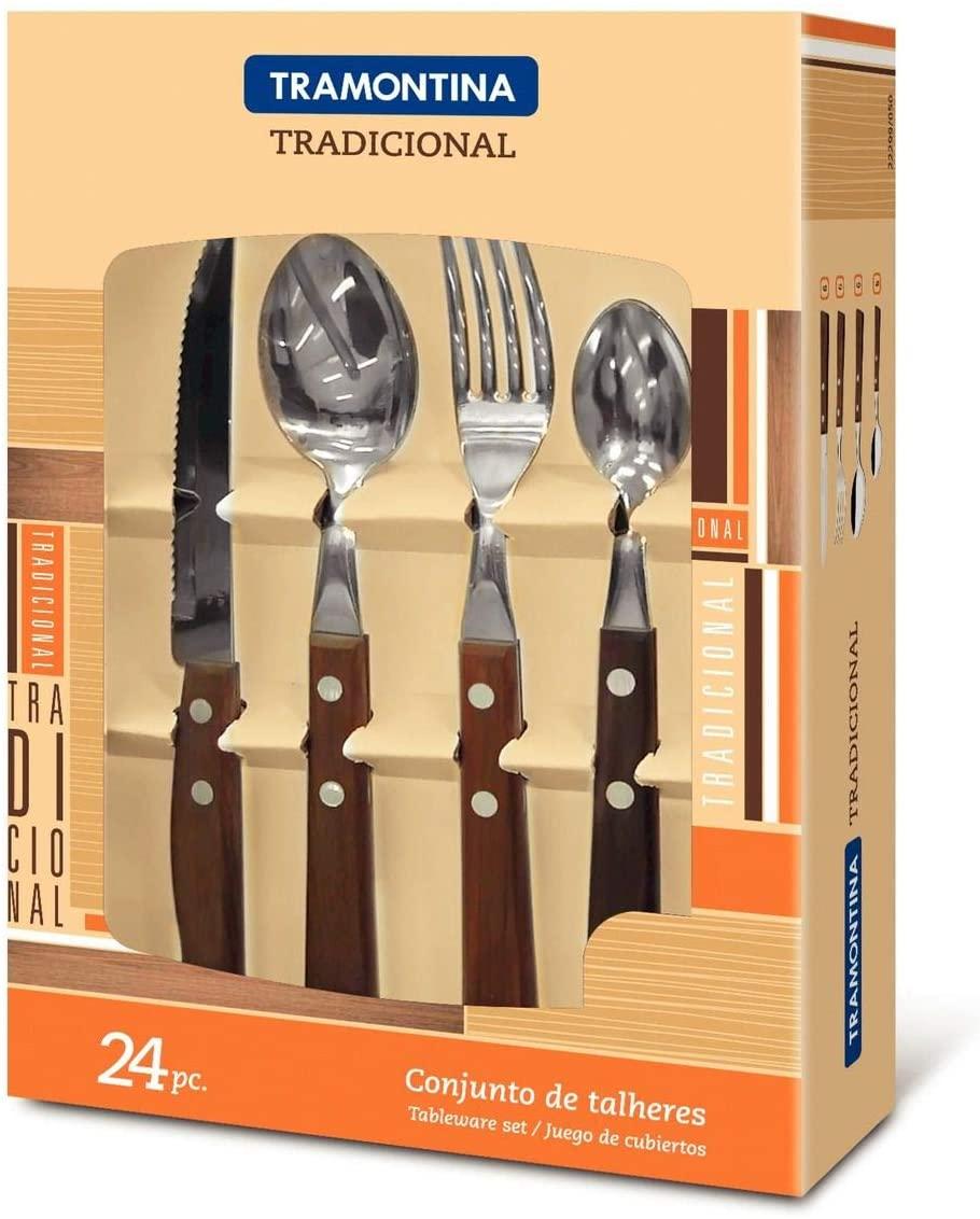 Faqueiro Tramontina Tradicional com Lâminas em Aço Inox e Cabos de Madeira 24 Peças  Tramontina 22299050