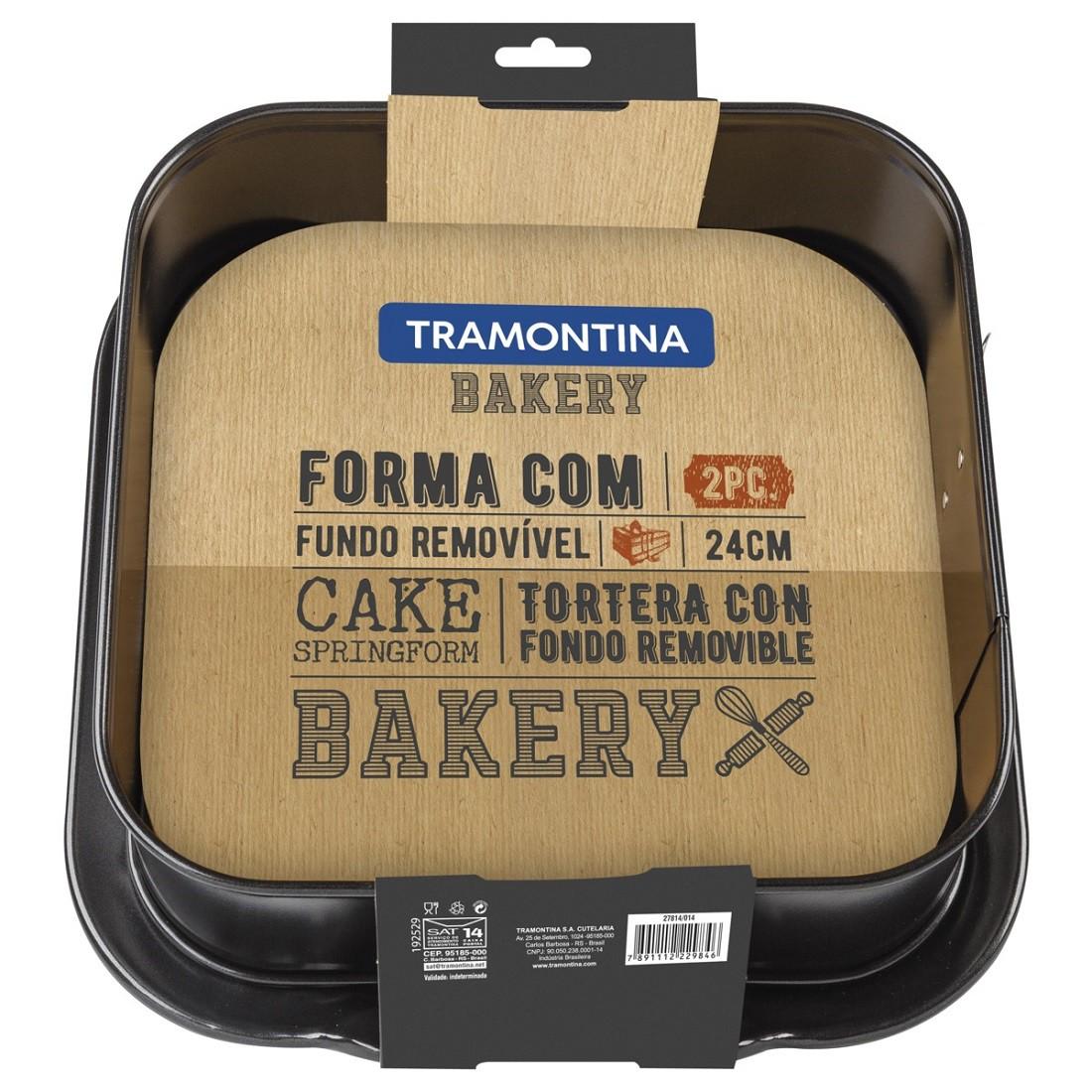 Forma Quadrada Tramontina Bakery em Aço com Revestimento Interno Antiaderente Preta com Fundo Removível 24 cm 4,8 L  Tramontina 27814014