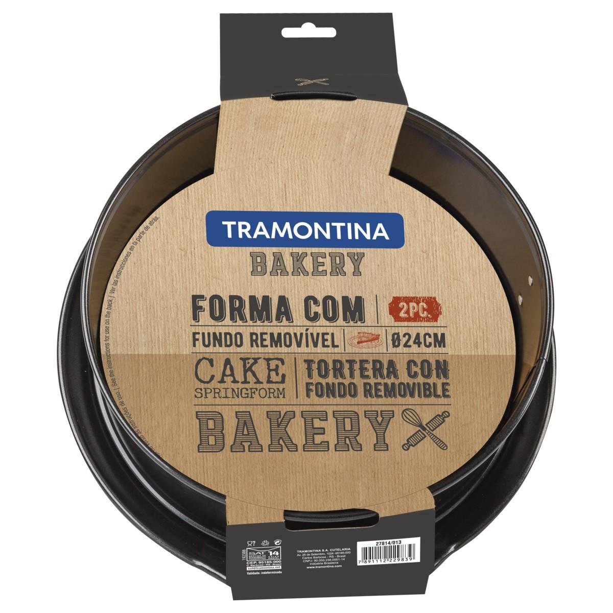 Forma Redonda Tramontina Bakery em Aço com Revestimento Interno Antiaderente com Fundo Removível Preta 24 cm 3,6 L  Tramontina 27814013