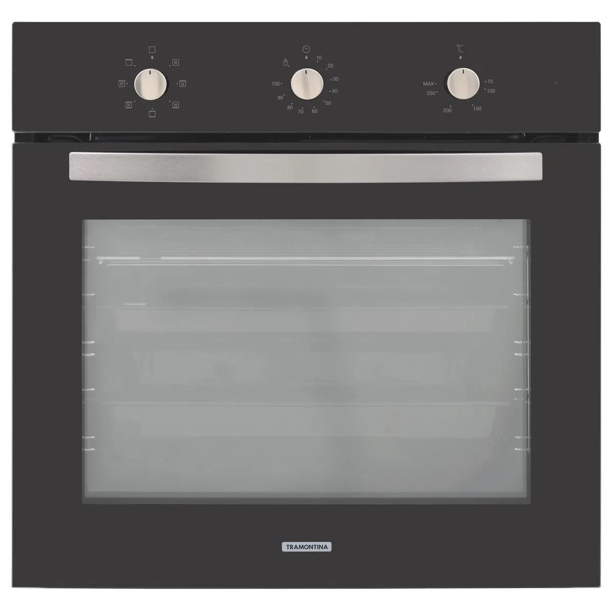 Forno Elétrico de Embutir Tramontina New Glass Cook em Vidro Temperado Preto 7 Funções 71 L  Tramontina 94867220