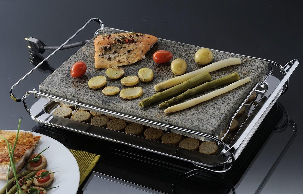 Grill de Pedra - Stone Grill Cromado Pedra Granito Para Cozimento 127V