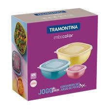 Jogo de Potes Tramontina Mixcolor em Polipropileno com Tampa Transparente 3 Peças  Tramontina 25099980