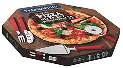 Kit para Pizza Tramontina com Lâminas em Aço Inox e Cabos de Polipropileno Vermelho 14 Peças  Tramontina 25099722