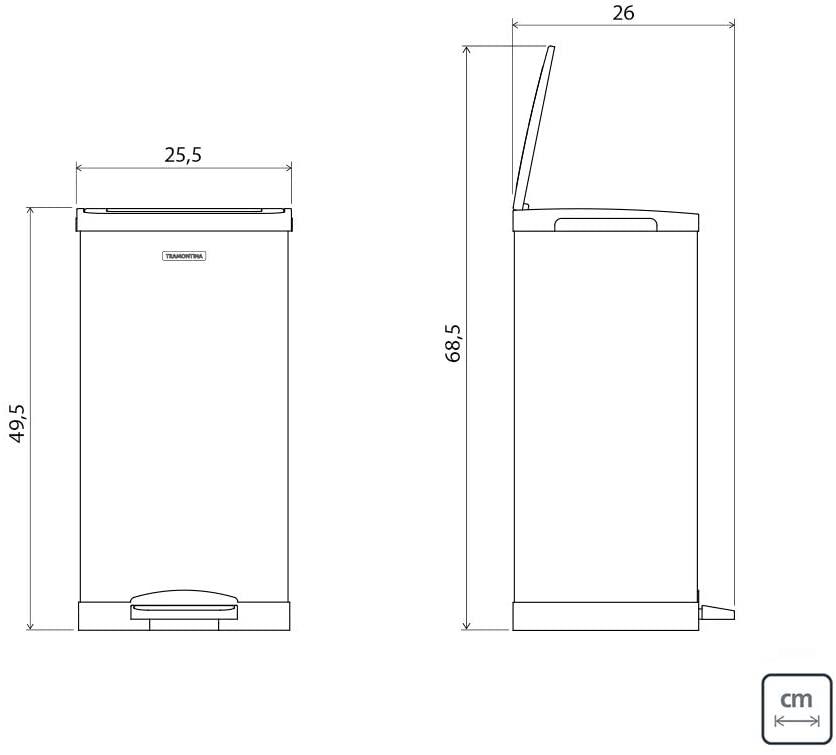 Lixeira Inox com Pedal Tramontina Quadratta com Acabamento Scotch Brite e Balde Interno Removível 15 L  Tramontina 94538615