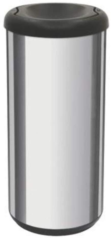 Lixeira Inox Tramontina Cápsula Selecta Plus Basculante com Acabamento Polido e Tampa Basculante Preta em Polipropileno 40 L  Tramontina 94539200
