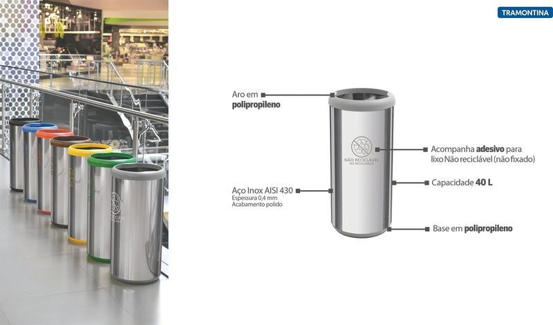 Lixeira Inox Tramontina Cápsula Selecta Plus com Acabamento Polido e Aro e Base Cinza em Polipropileno 40 L  Tramontina 94539226