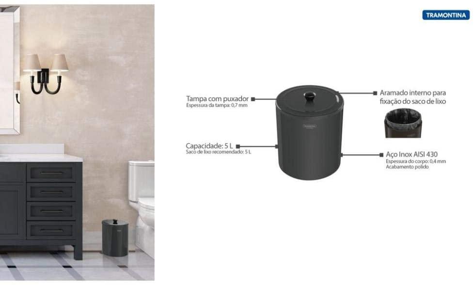 Lixeira Tramontina Útil em Aço Inox Polido com Revestimento Black 5 L  Tramontina 94540052