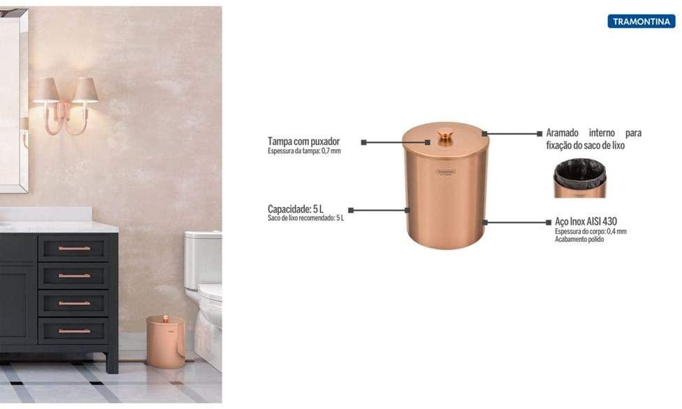 Lixeira Tramontina Útil em Aço Inox Polido com Revestimento Rose Gold 5 L  Tramontina 94540053