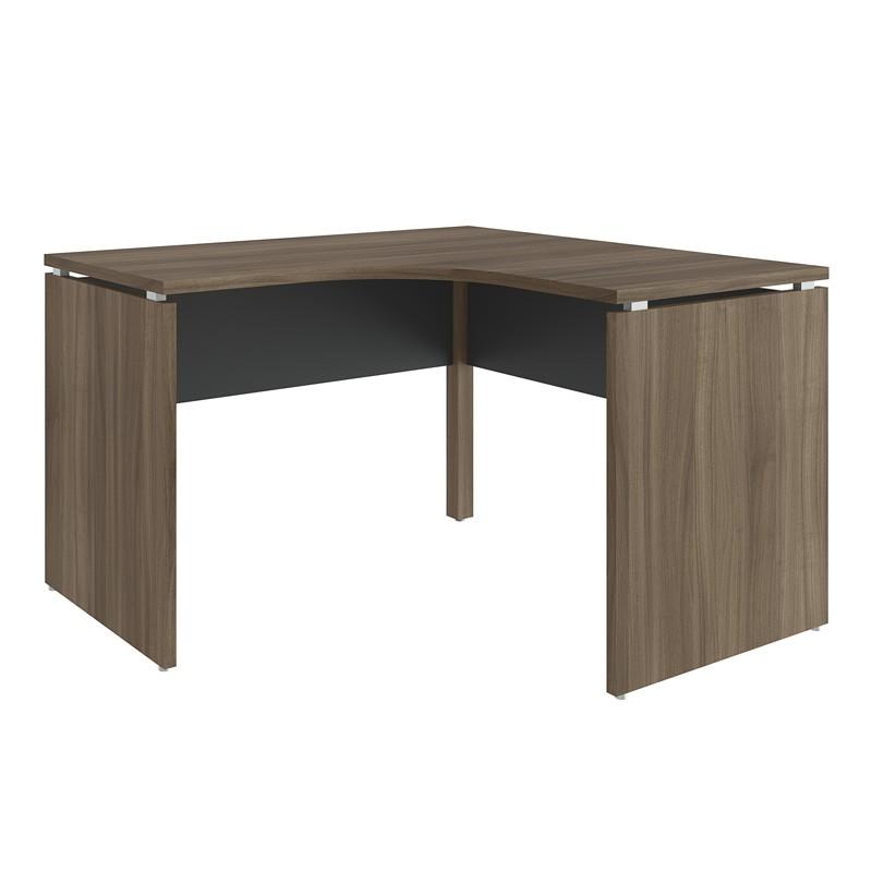 Mesa para Escritório Curva 1400x1400 Win Nogueira com Preto