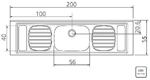 Pia de Apoio Tramontina Filo 56 Plus em Aço Inox 200x55 cm 93 Tramontina 93059507