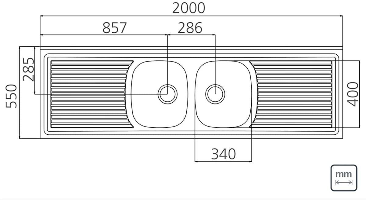 Pia de Apoio Tramontina Ribon 2C 34 em Aço Inox 200x55 cm com 2 Cubas 93 Tramontina 93107607