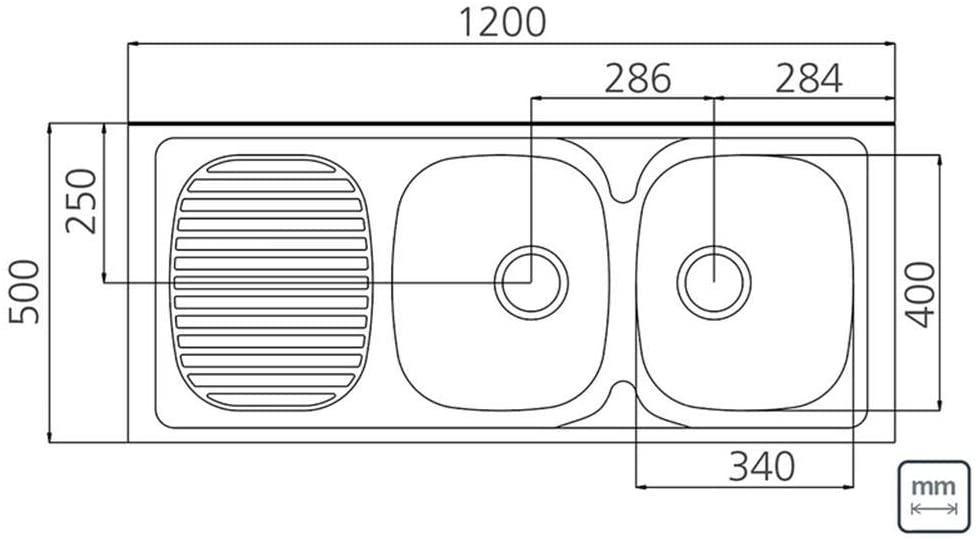 Pia de Apoio Tramontina Stratta 2C 34 DX em Aço Inox 120x50 cm com 2 Cubas 93 Tramontina 93446602