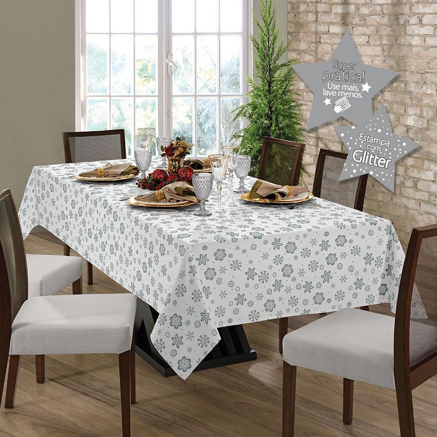 Toalha de mesa Gardenia Natal quadrada 4 lugares Prata - 036507