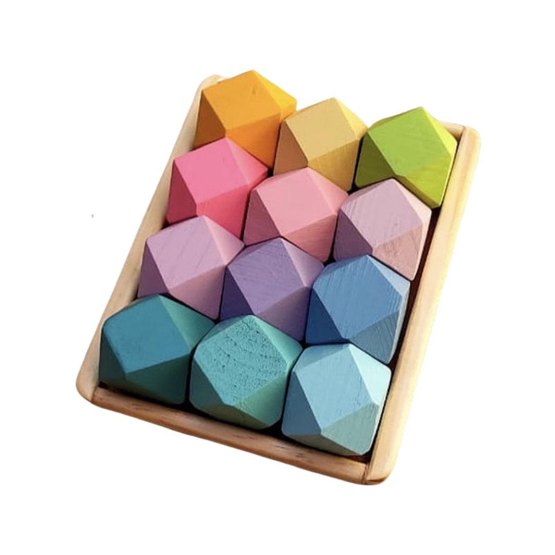 Blocos de Madeira Pedras Candy Colors