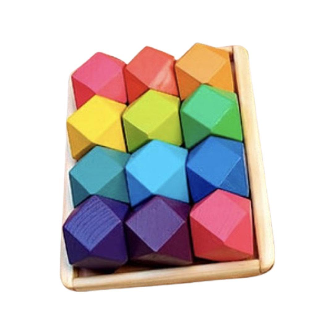 Blocos de Madeira Pedras Coloridas