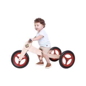 CÓPIA - Bicicleta de Madeira 3-em-1 Vermelha - Woodbike