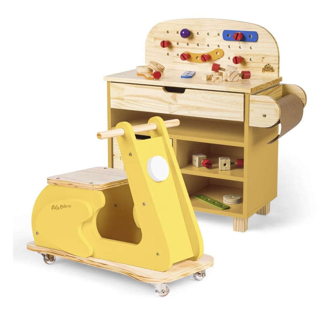 Kit Mini Oficina Amarela + Motoneta Amarela