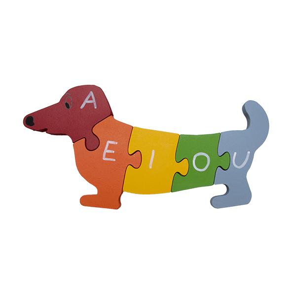 Quebra-cabeça Cachorro Vogais e Números