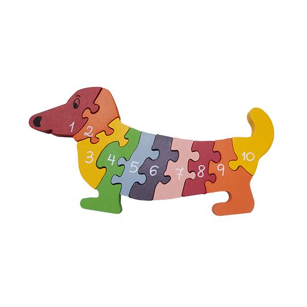 Quebra-cabeça Cachorro Números