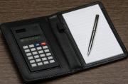 Bloco de Anotações de couro sintético com Calculadora e Caneta