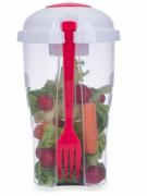 Copo de salada 850ml com garfo e compartimento para molho