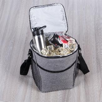 Bolsa térmica 12 litros de material poliéster com detalhes em nylon