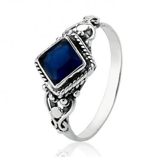 Anel Boho Indiano Losango Pedra Azul Prata Envelhecida