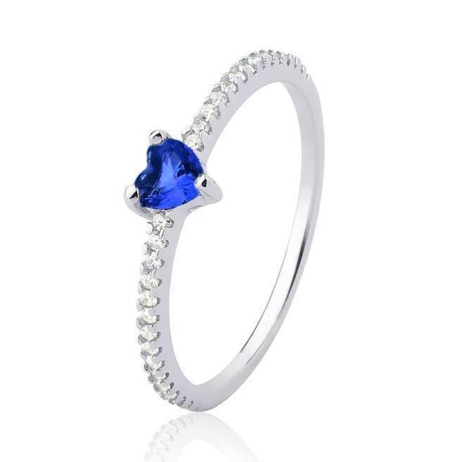Anel com Pedra Coração Azul Prata