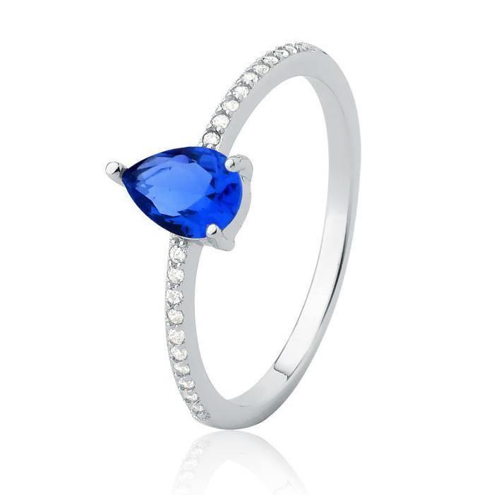 Anel com Pedra Gota Azul Prata