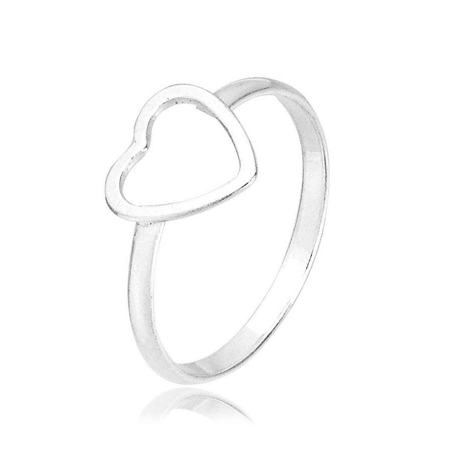 Anel Coração Pequeno Vazado Prata