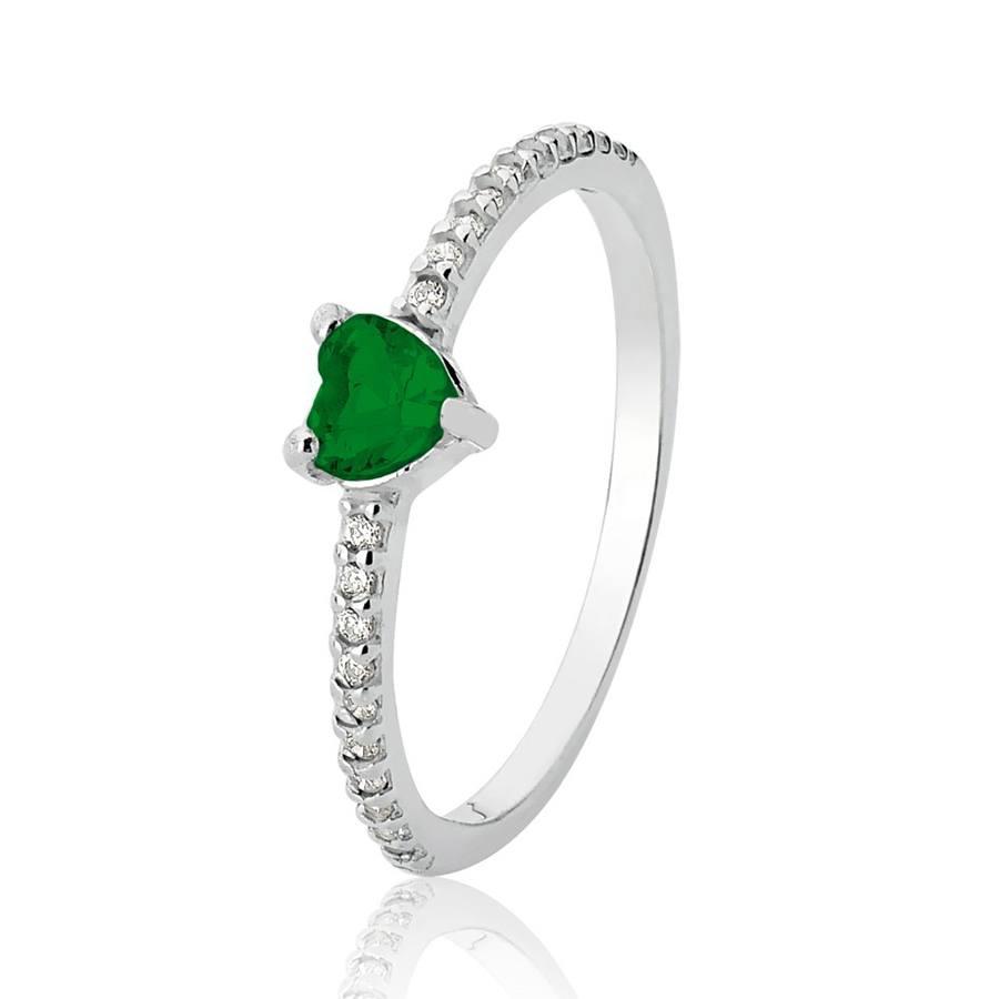 Anel de Prata Cravejado Coração Verde Esmeralda