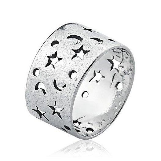 Anel Largo Estrelas Vazadas Prata Envelhecida
