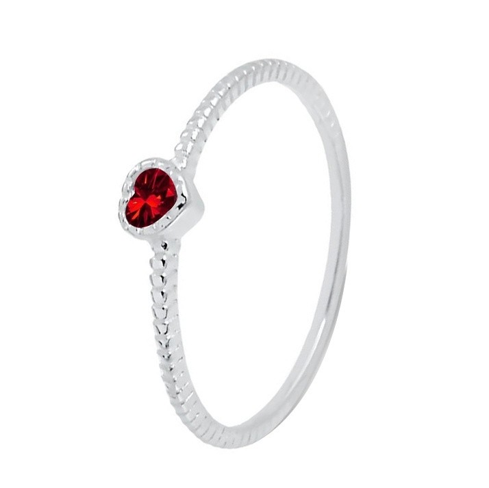 Anel Solitário Caixa Coração Zirconia Vermelho Rubi