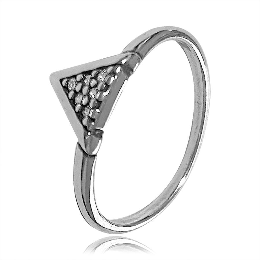 Anel Triangulo V Prata Envelhecida Cravejado