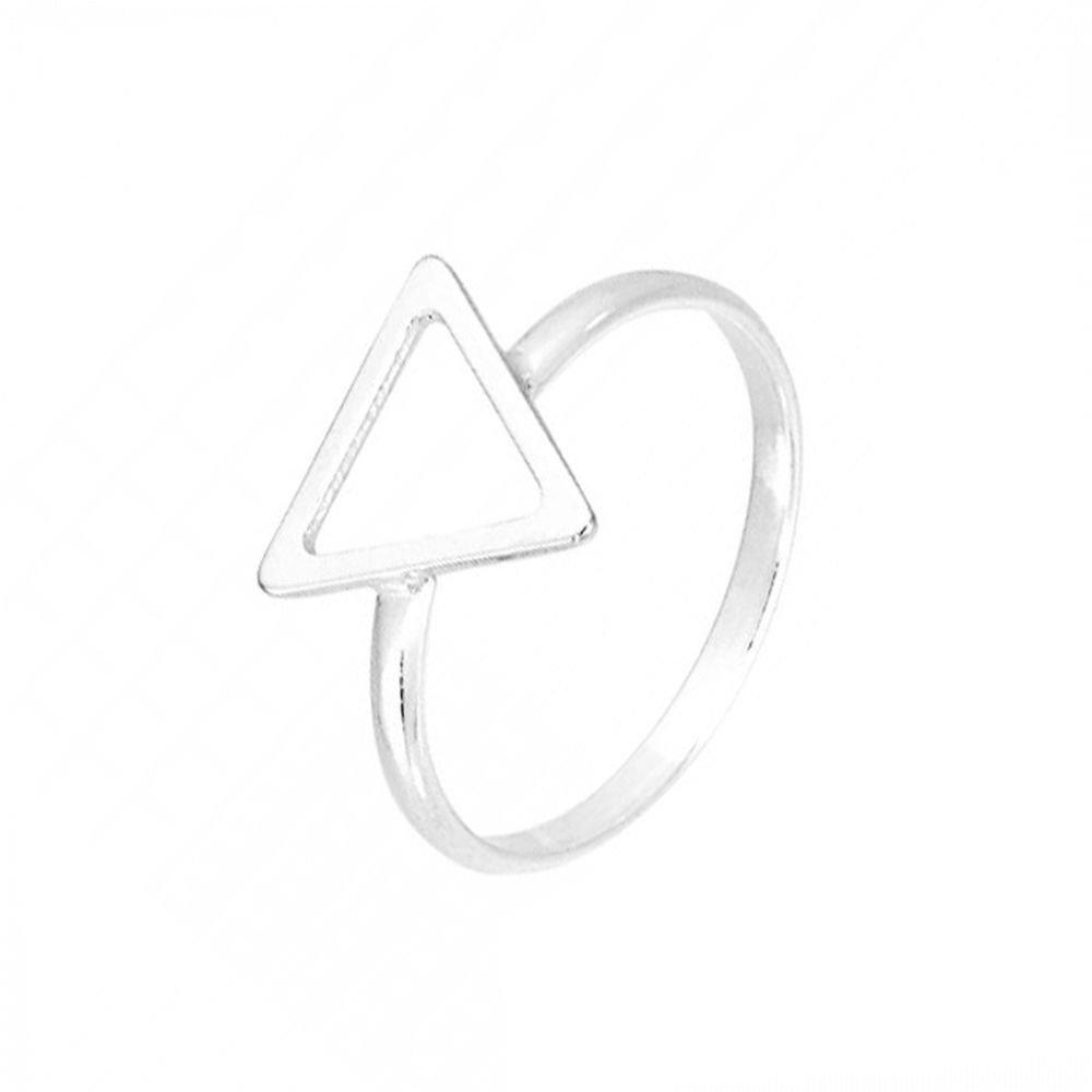Anel Triângulo Vazado Prata
