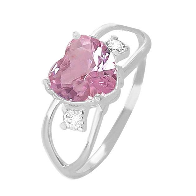 Anel Vazado Com Pedra Coraçao Rosa