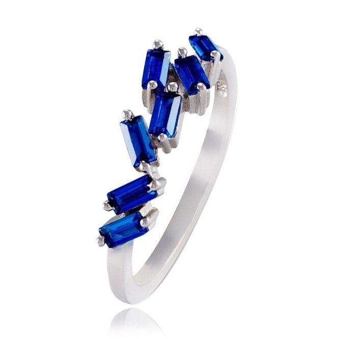 Anel Zirconias Baguete Azul Prata