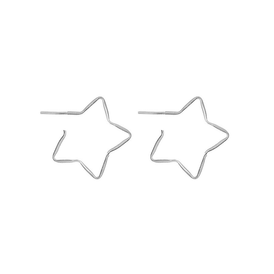 Argola De Prata Estrela Média