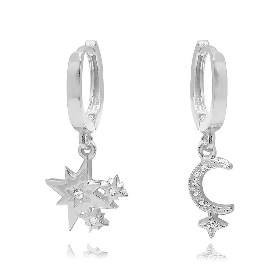 Argolinha De Prata com Pingentes Lua e Estrela Com Zirconias