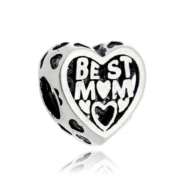 Berloque Coração Best Mom Prata