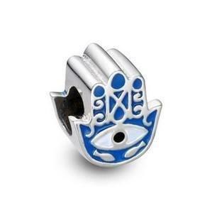 Berloque Mão de Fátima Hamsá Azul em Prata