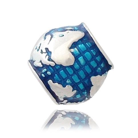 Berloque Mundo Com Resina Azul Prata